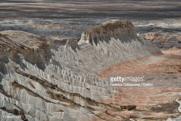 high angle view of rock formations - トルクメニスタン ストックフォトと画像