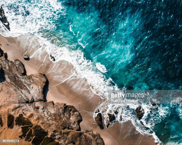 high angle view of rocks at beach - san diego stock pictures, royalty-free photos & images