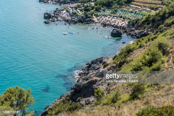 high angle view of rocks by sea - pastore maremmano foto e immagini stock