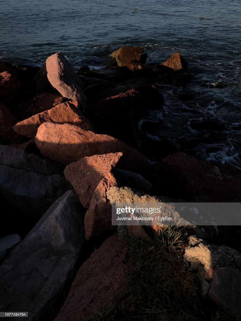 High Angle View Of Rocks On Beach : Stock Photo