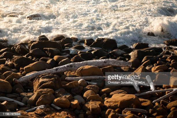 high angle view of rocks on beach - christian soldatke imagens e fotografias de stock