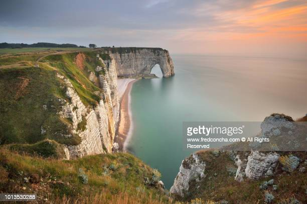 High Angle View of Rocky Cliff By Sea At Etretat, Normandy