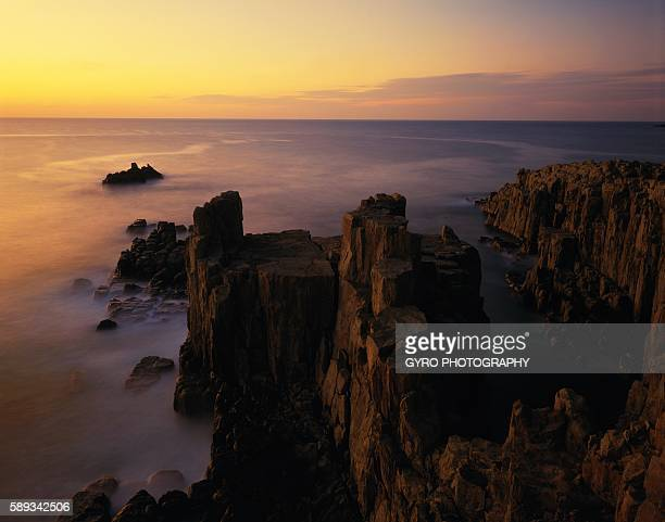 high angle view of rocky coast - fukui prefecture stock photos and pictures