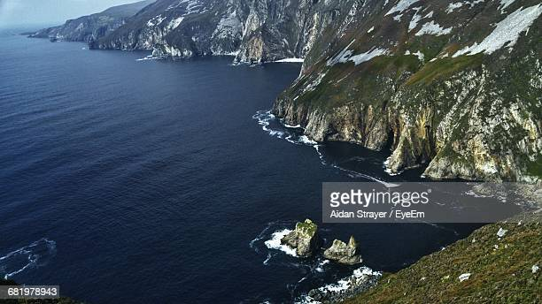 High Angle View Of Rocky Coastline