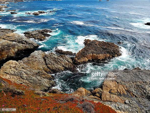 High Angle View Of Rocky Sea Shore