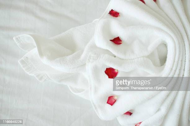 high angle view of rose petals and arranged towel on bed in hotel room - タオル ストックフォトと画像