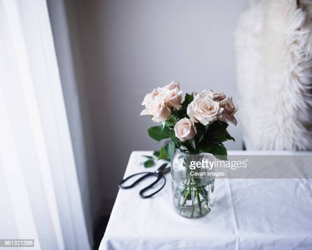 High angle view of roses in container on table at home