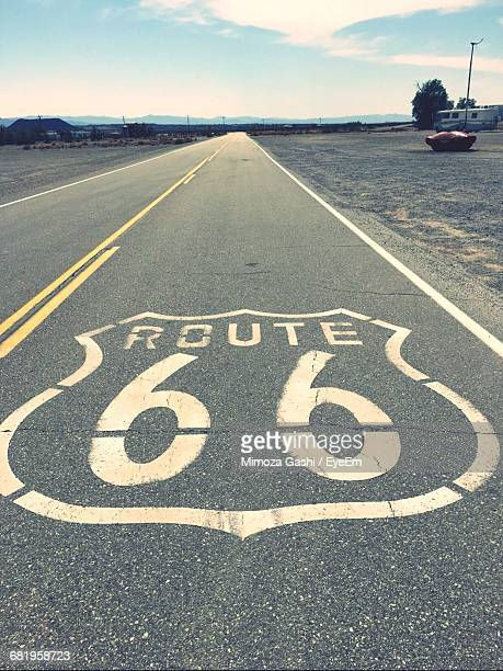 high angle view of route 66 on empty road - route 66 stock-fotos und bilder