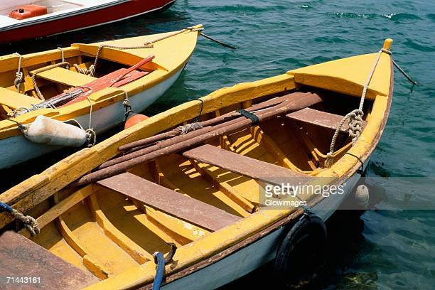 High angle view of rowboats, Saba Caribbean, U.S. Virgin Islands