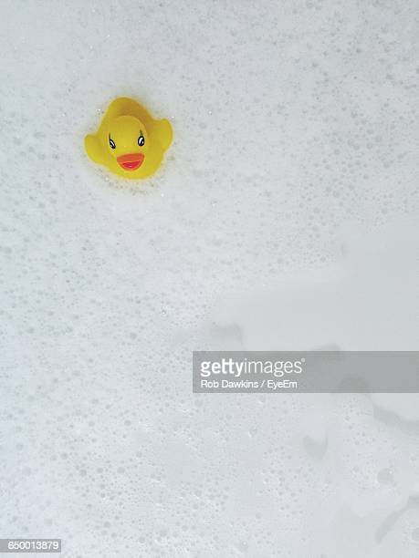 High Angle View Of Rubber Duck In Bathtub