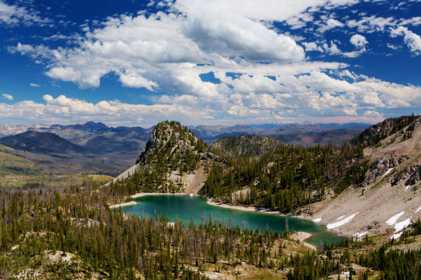 High angle view of Ruffneck Lake in Franch Church Wilderness, central Idaho in summer close to Stanley, along hiking trail to Ruffneck Peak