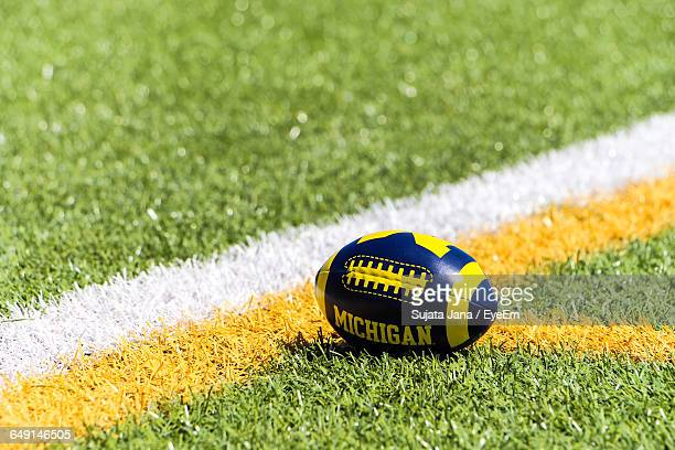 High Angle View Of Rugby Ball On Playing Field
