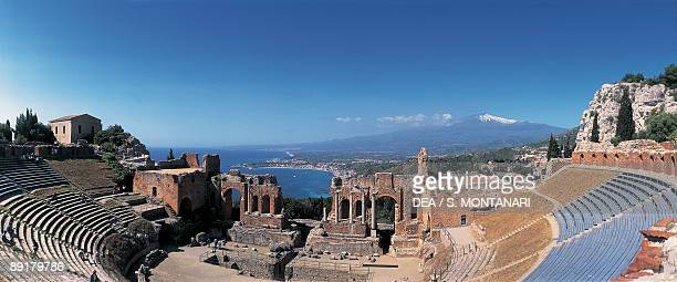 High angle view of ruins of an amphitheater Taormina Sicily Italy