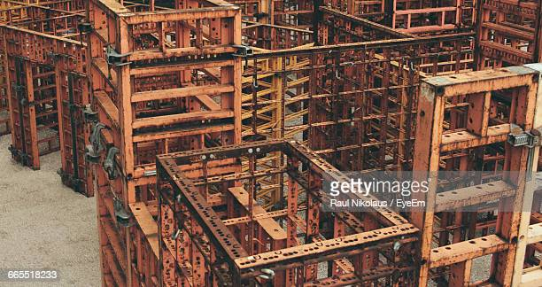 high angle view of rusty metallic pallets in factory - run down stock pictures, royalty-free photos & images