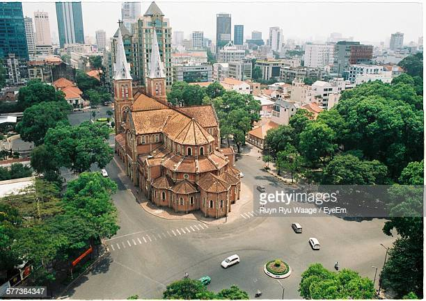 High Angle View Of Saigon Notre-Dame Basilica By Road In City