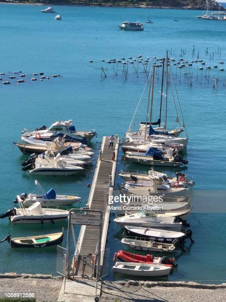 high angle view of sailboats moored at harbor - moored stock pictures, royalty-free photos & images