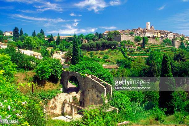 high angle view of saint paul de vence, french riviera, france - サンポールドヴァンス ストックフォトと画像