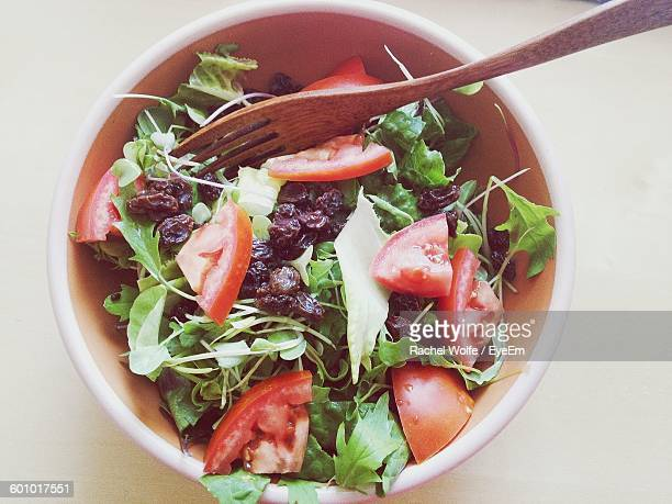 high angle view of salad in bowl on table - rachel wolfe stock pictures, royalty-free photos & images
