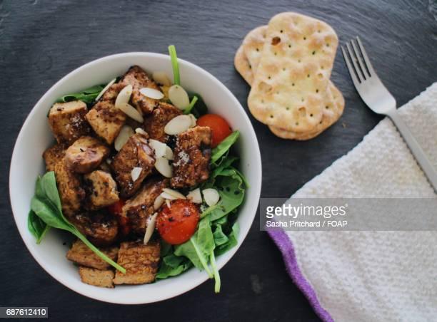 high angle view of salad with tempeh - テンペ ストックフォトと画像