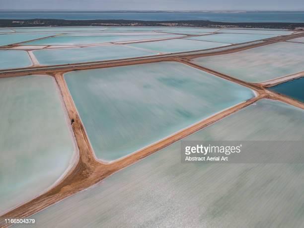 high angle view of salt ponds, shark bay, western australia - ソルトポンド ストックフォトと画像