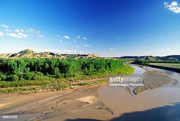 High angle view of sand and trees, Missouri River, North Dakota, USA