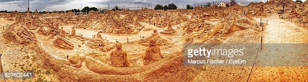 High Angle View Of Sand Sculptures
