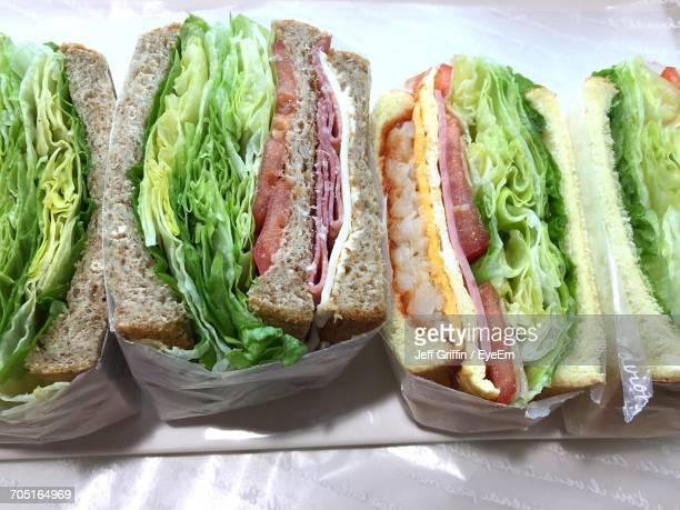 High Angle View Of Sandwiches On Table For Sale