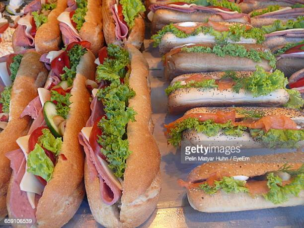 high angle view of sandwiches on table - submarine sandwich stock pictures, royalty-free photos & images