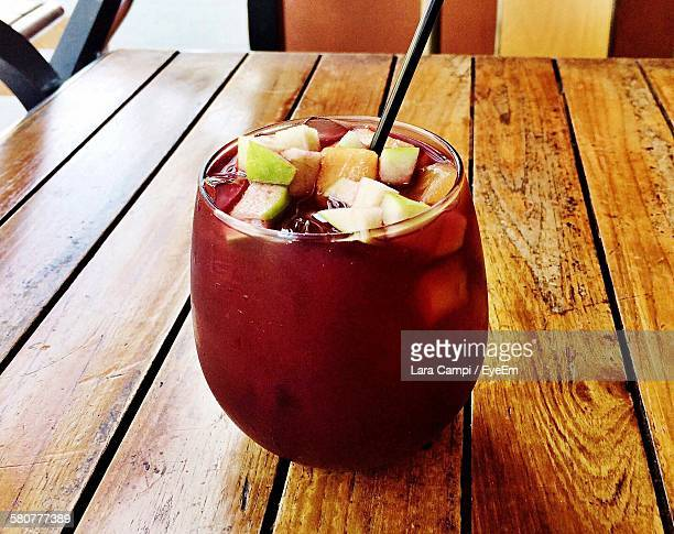 High Angle View Of Sangria In Glass On Table