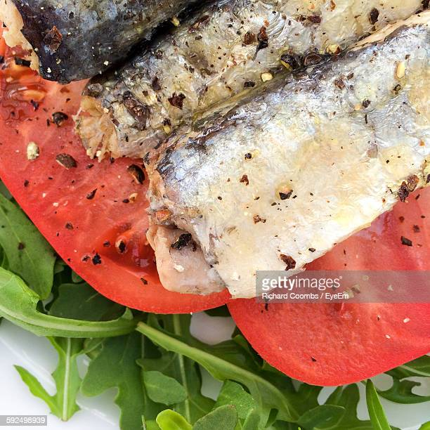 High Angle View Of Sardines Over Salad In Plate