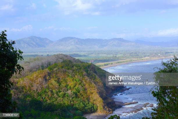 High Angle View Of Scenic View Of Mountains Against Sky