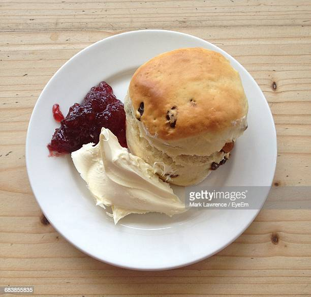 High Angle View Of Scone In Plate On Table