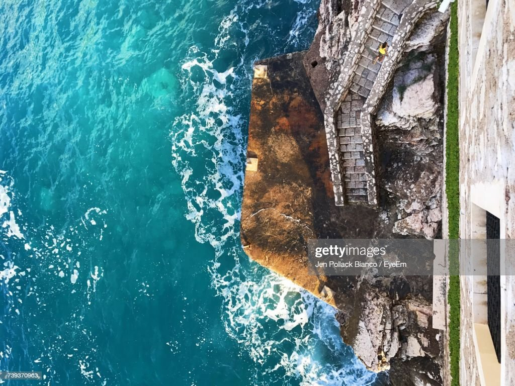 High Angle View Of Sea Against Blue Sky : Stock Photo