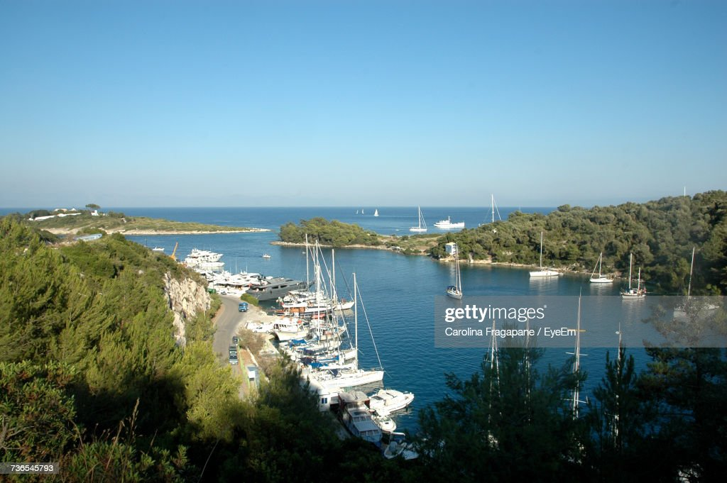 High Angle View Of Sea Against Clear Blue Sky : Foto stock