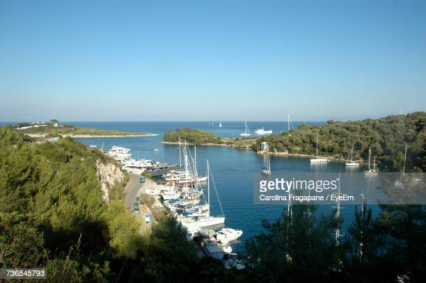 high angle view of sea against clear blue sky - carolina fragapane stock pictures, royalty-free photos & images