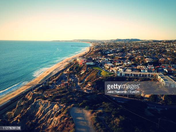 high angle view of sea against clear sky - san clemente california stock pictures, royalty-free photos & images
