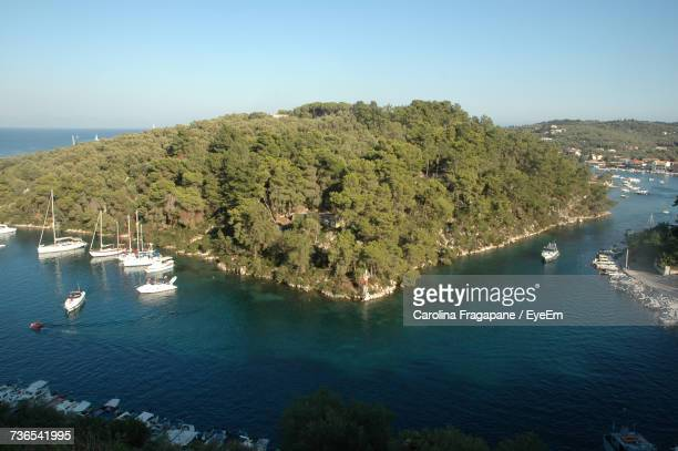 high angle view of sea against clear sky - carolina fragapane stock pictures, royalty-free photos & images