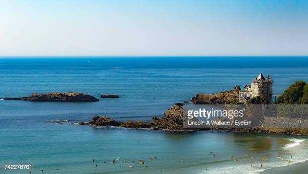 high angle view of sea against clear sky - biarritz stock pictures, royalty-free photos & images