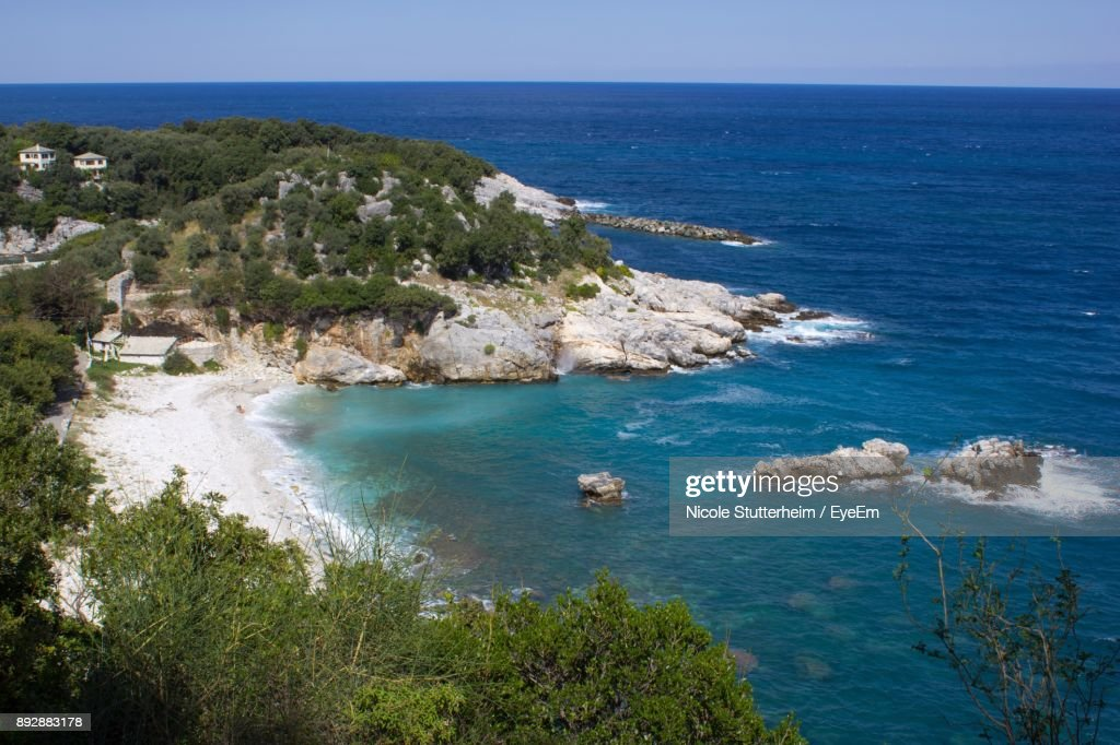 High Angle View Of Sea Against Clear Sky : Stock Photo