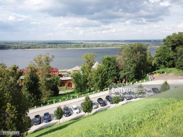 high angle view of sea against cloudy sky - nizhny novgorod oblast stock photos and pictures