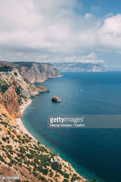 high angle view of sea against cloudy sky - ukraine stock pictures, royalty-free photos & images
