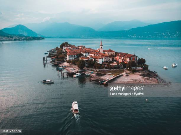 high angle view of sea against sky - stresa stock pictures, royalty-free photos & images