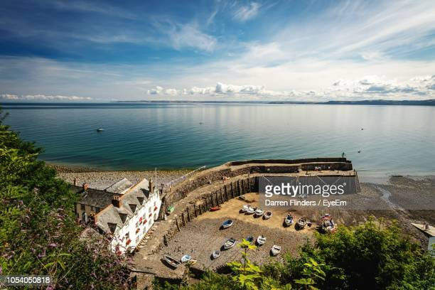 high angle view of sea against sky - devon stock pictures, royalty-free photos & images