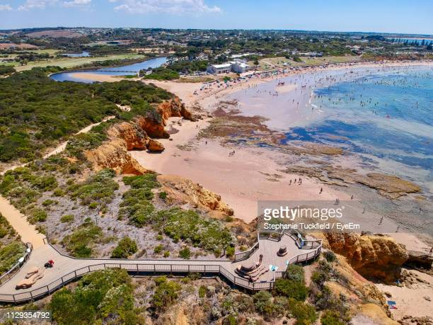 high angle view of sea against sky - torquay,_victoria stock pictures, royalty-free photos & images