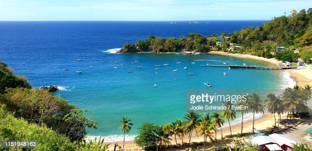 high angle view of sea against sky - trinidad and tobago stock pictures, royalty-free photos & images