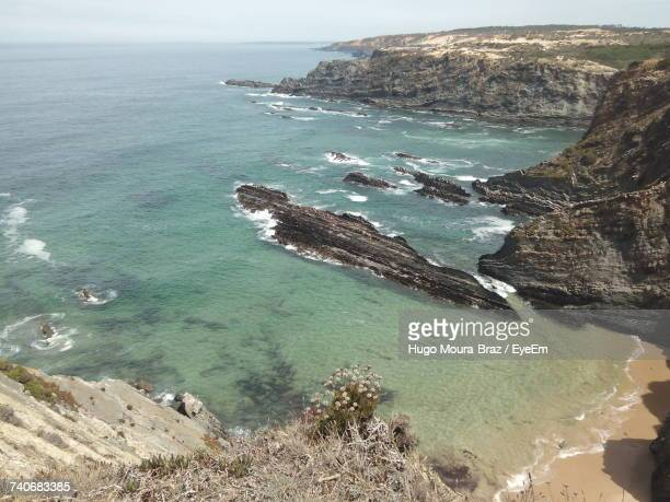 high angle view of sea against sky - moura stock photos and pictures