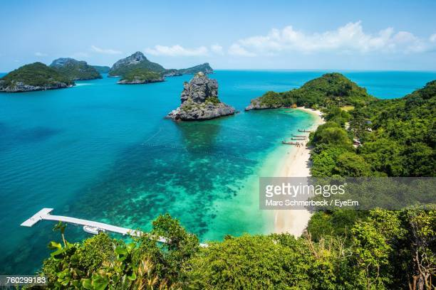 high angle view of sea against sky - ko samui stock photos and pictures
