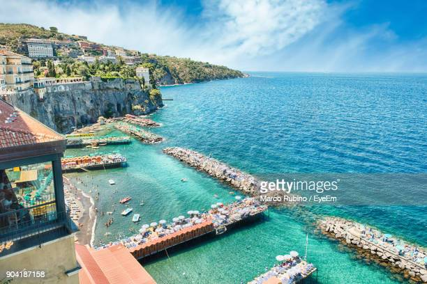 high angle view of sea against sky - sorrento stock pictures, royalty-free photos & images