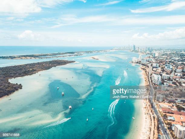 high angle view of sea against sky - gold coast stock pictures, royalty-free photos & images