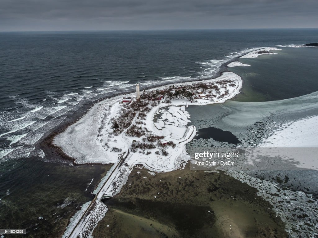 High Angle View Of Sea Against Sky : Stock Photo